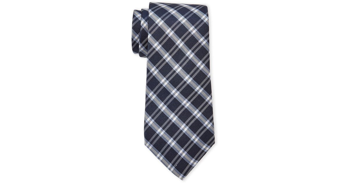 b4cb9d771fe1 Lyst - Tommy Hilfiger Navy Check Silk Tie in Blue for Men