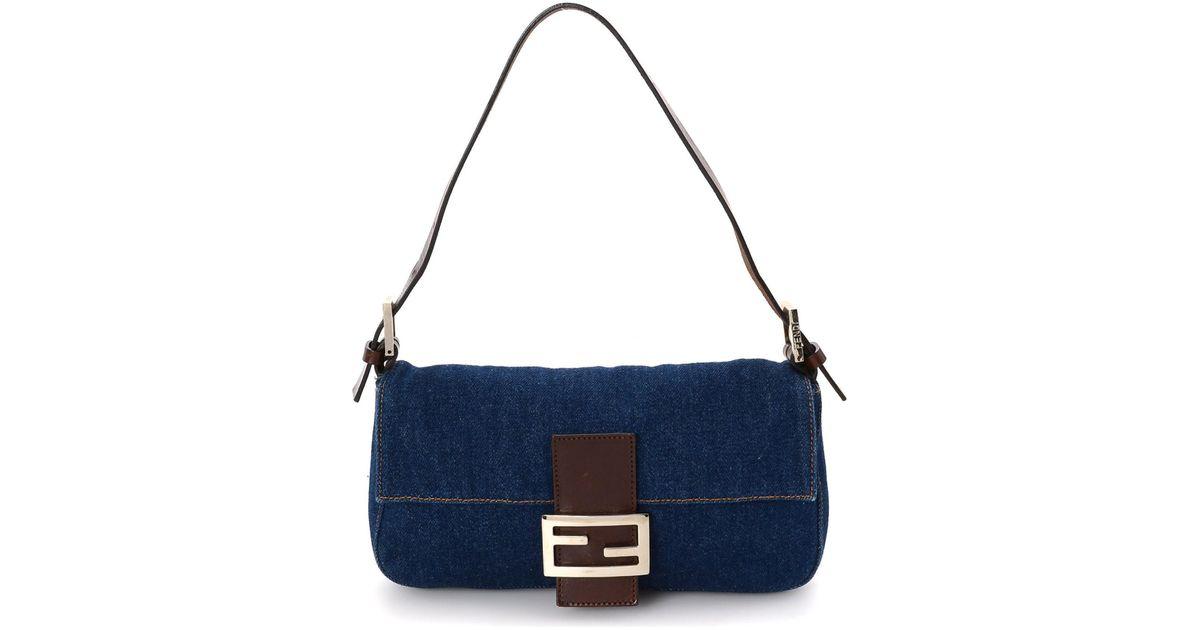 96def3eedf6 Fendi Denim Baguette Shoulder Bag - Vintage in Blue - Lyst