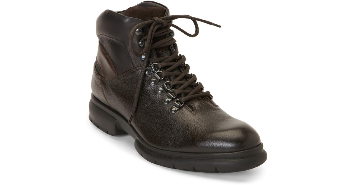 ferragamo brown leather lace up boots in brown for lyst