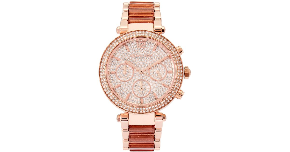 1c2c7d645be7 Lyst - Michael Kors Mk6285 Rose Gold-tone Watch in Pink