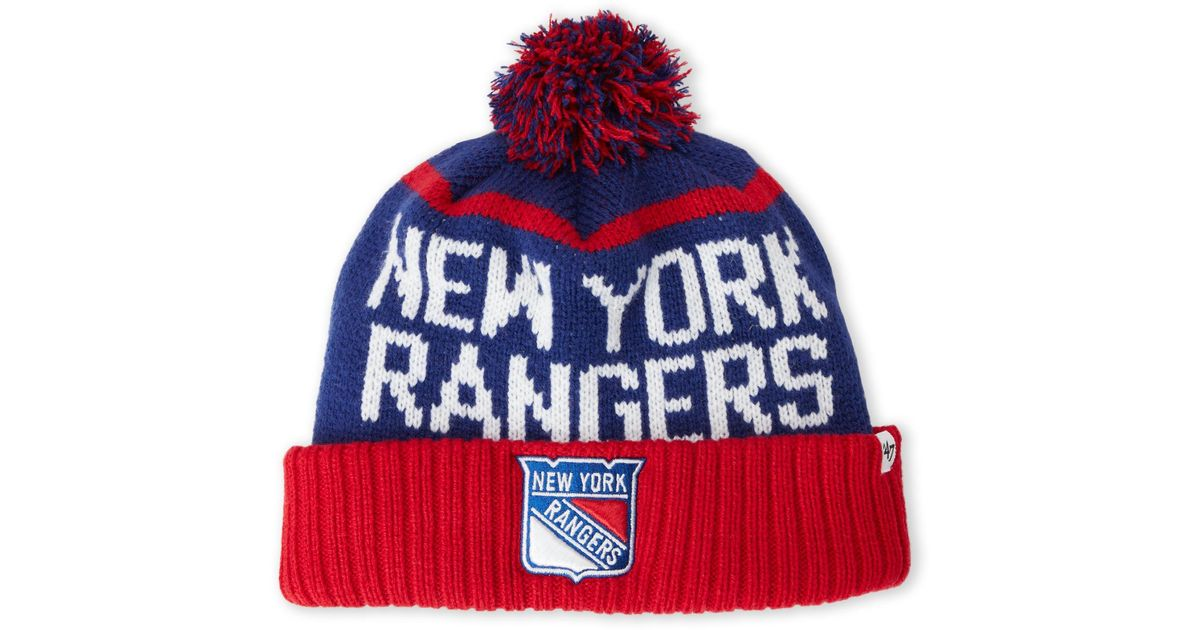 the best attitude e383c 3600f ... czech ireland lyst 47 brand new york rangers pom pom linesman knit hat  in red for