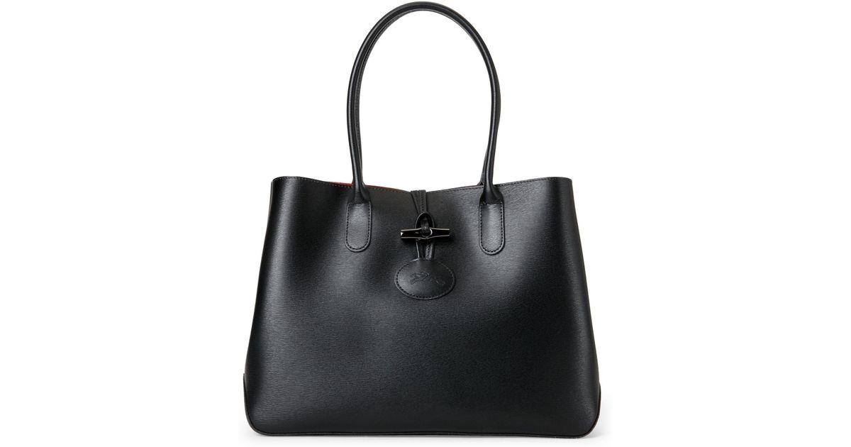 Lyst - Longchamp Black Roseau Leather Tote in Black 4091dd68b6c2d