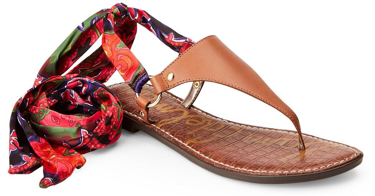 be9d8f579db Lyst - Sam Edelman Saddle Giliana Ankle Wrap Thong Sandals in Red
