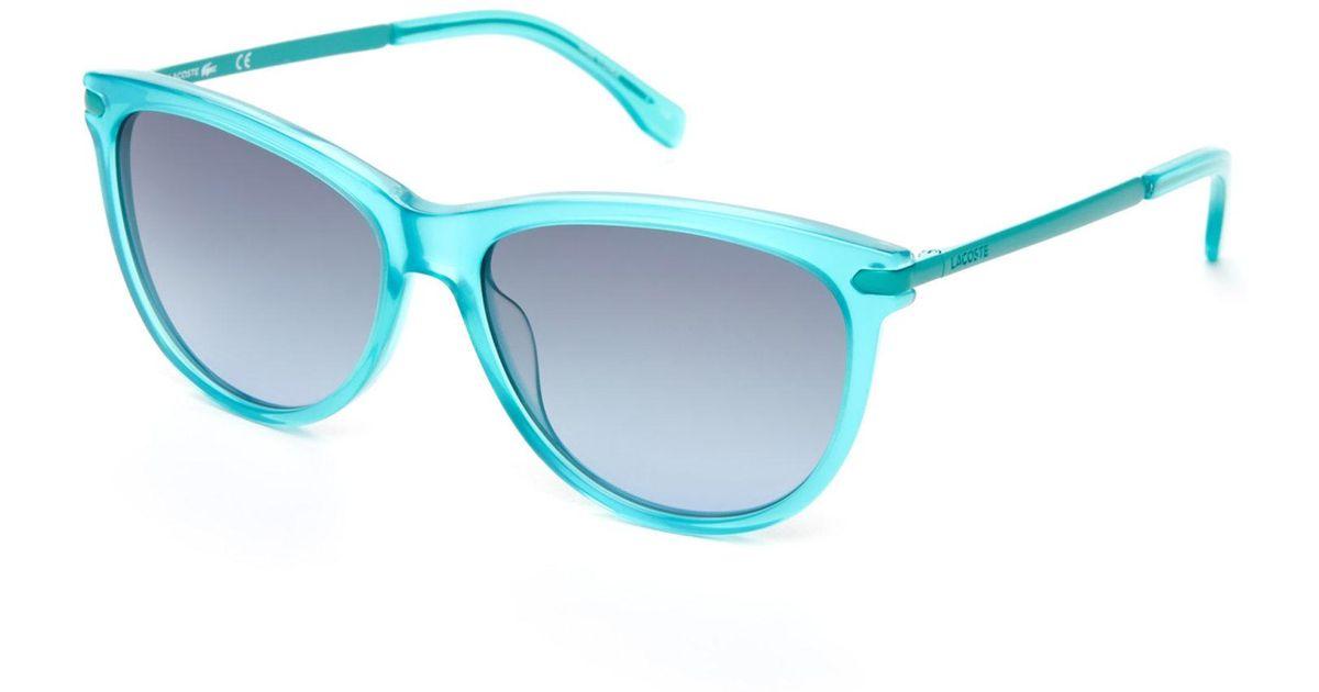 caa36519a4c Lyst - Lacoste Aqua L812S Cat Eye Sunglasses in Blue