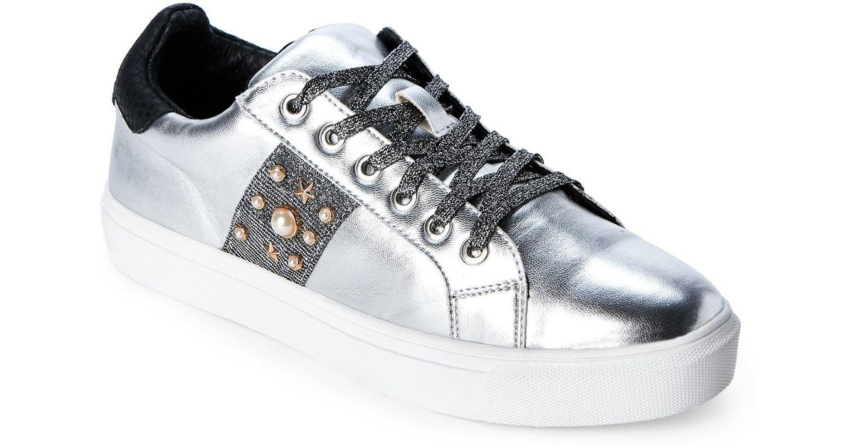 7d8370c6ce181 Steven by Steve Madden Metallic Silver Cory Embellished Low-top Sneakers