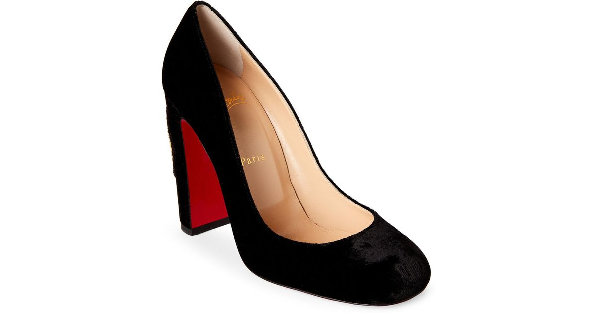 big sale 9ecc5 6ab23 Christian Louboutin Black Cadrilla Corazon Velvet Block Heel Pumps
