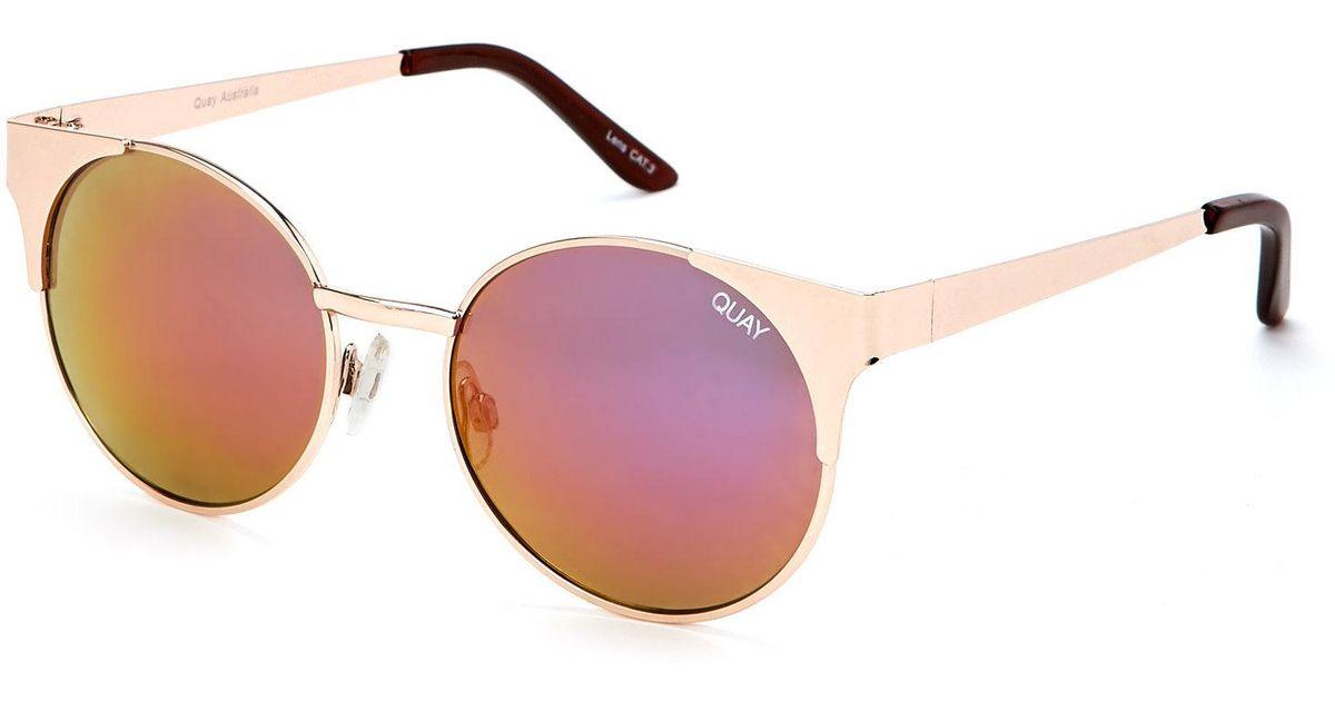 01d1945b54 Lyst - Quay Gold-Tone Asha Cat Eye Sunglasses