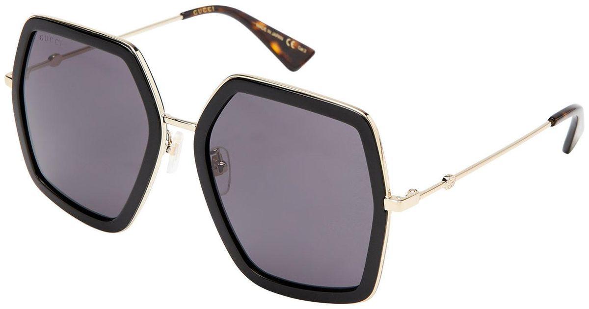 48e0475249 Lyst - Gucci Gg 0106 s Black Hexagon Sunglasses in Black