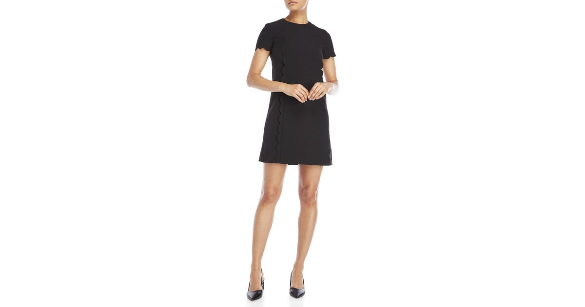 6bbbfd0a21fc8 Tahari Short Sleeve Scalloped Shift Dress in Black - Lyst