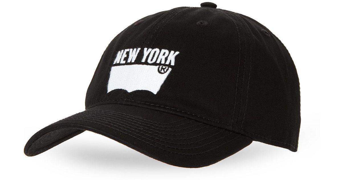 Lyst - Levi s Black New York Baseball Cap in Black for Men 14b7c94bd2c