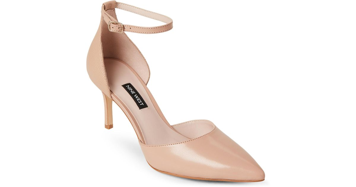 deab7f307c3 Lyst - Nine West Nude Marisa Ankle Strap Leather Pumps in Natural
