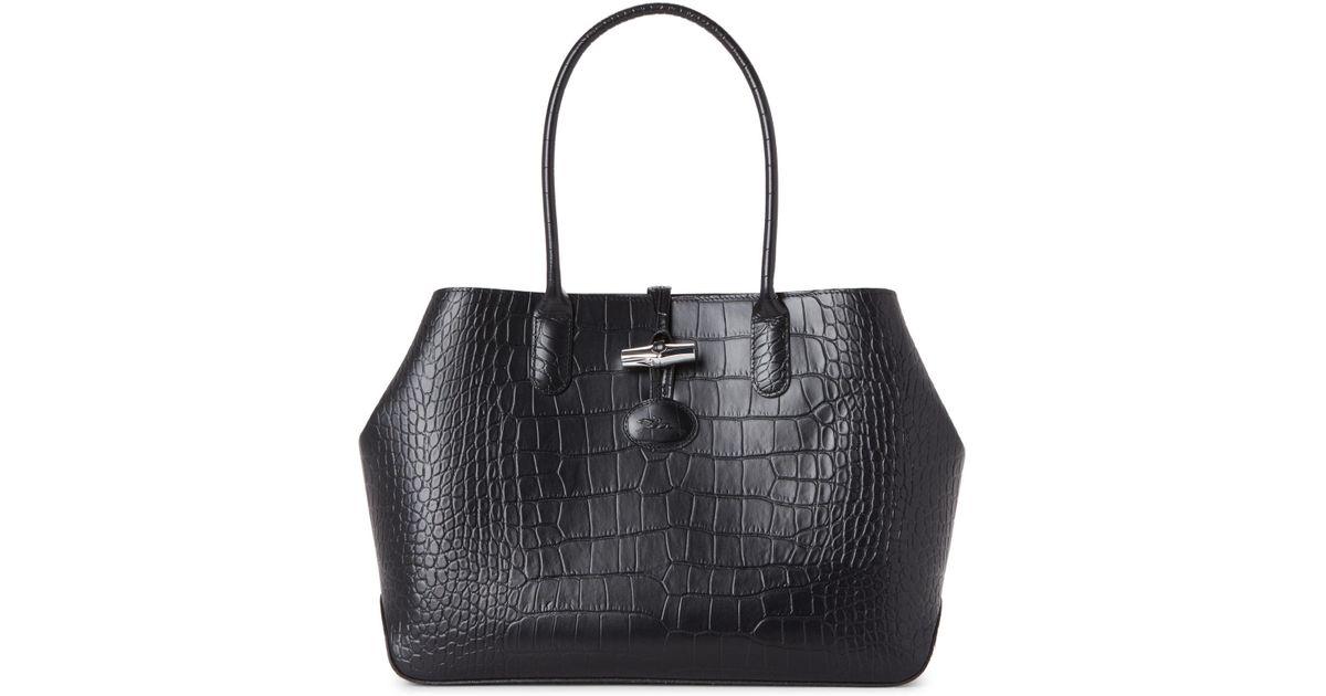 9f19e447893e Lyst - Longchamp Black Roseau Croc-embossed Shoulder Bag in Black