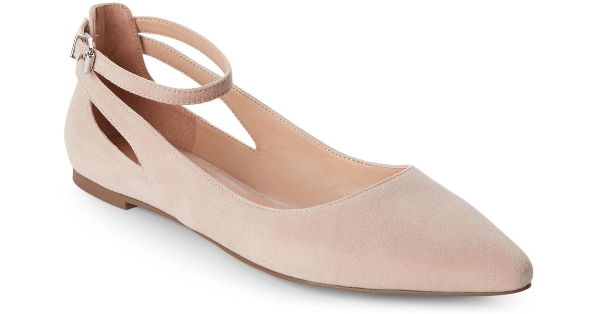 7cc958a667a Franco Sarto Pink Victorian Rose Sylvia Pointed Toe Ankle Strap Flats