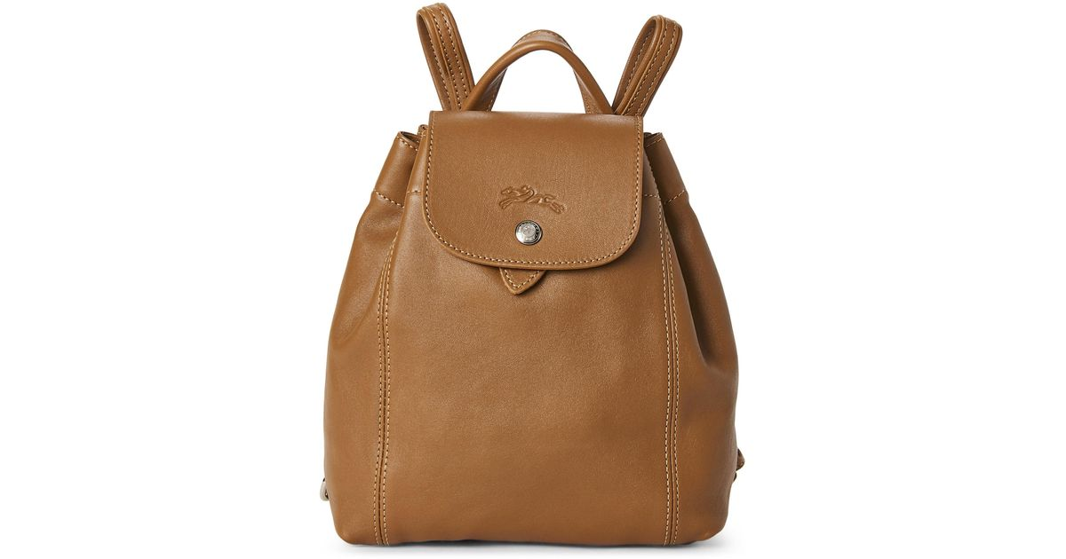 39d3ed2fd309 Lyst - Longchamp Natural Le Pliage Cuir Backpack in Natural