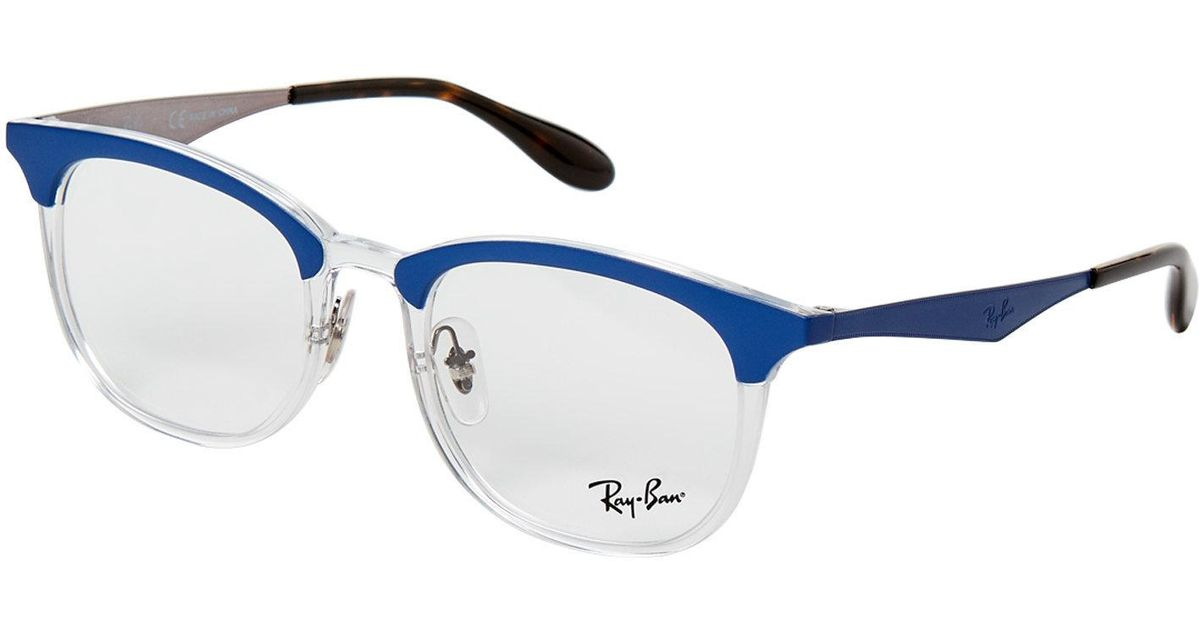 Lyst - Ray-Ban Rb 7112 Blue & Clear Round Optical Frames in Blue for Men