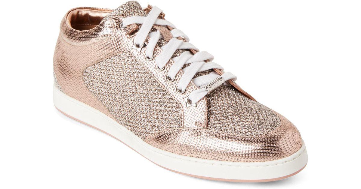 eaf5cb34193d Lyst - Jimmy Choo Tea Rose Miami Metallic Low-top Sneakers in Pink