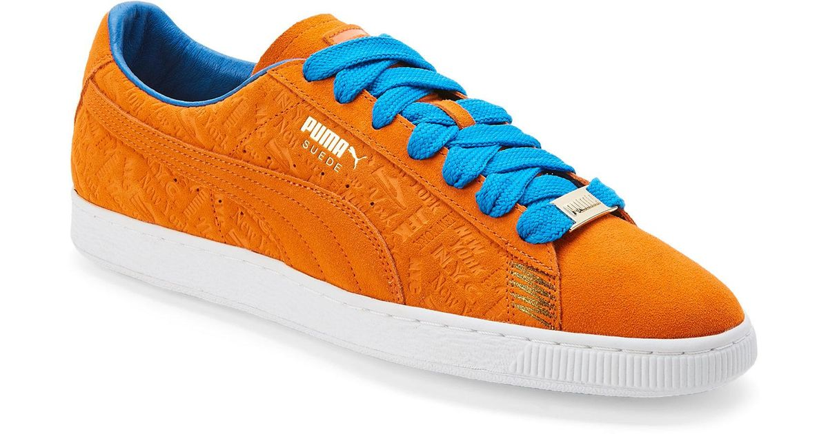 PUMA Orange & Blue Suede Classic New York Knicks Sneakers for men