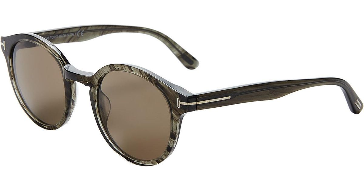 2d4da1153b9f Lyst - Tom Ford Tf400 Luncho Grey Round Sunglasses in Gray
