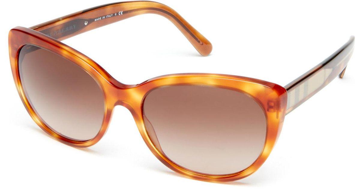 e0c7ed9cda8f Lyst - Burberry Be4224 Honey Tortoiseshell-Look Cat Eye Sunglasses in Brown