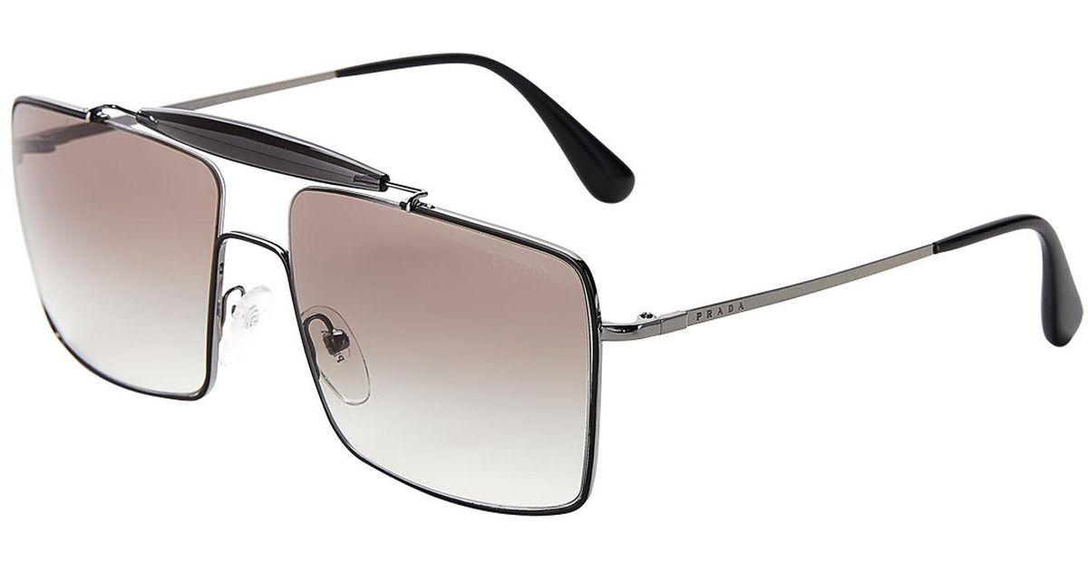 ec10d14f50df Lyst - Prada Spr 57s Black Navigator Sunglasses in Black for Men