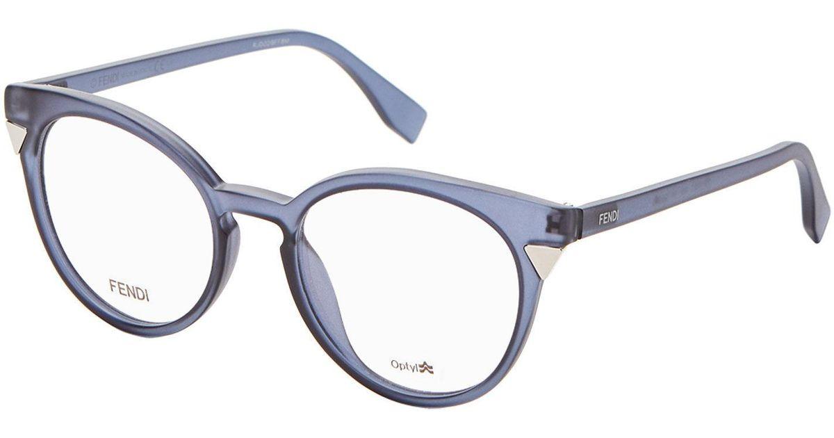 d25878cc93 Lyst Fendi Ff0127 Blue Grey Round Optical Frames In. Fendi Eyewear  Collection