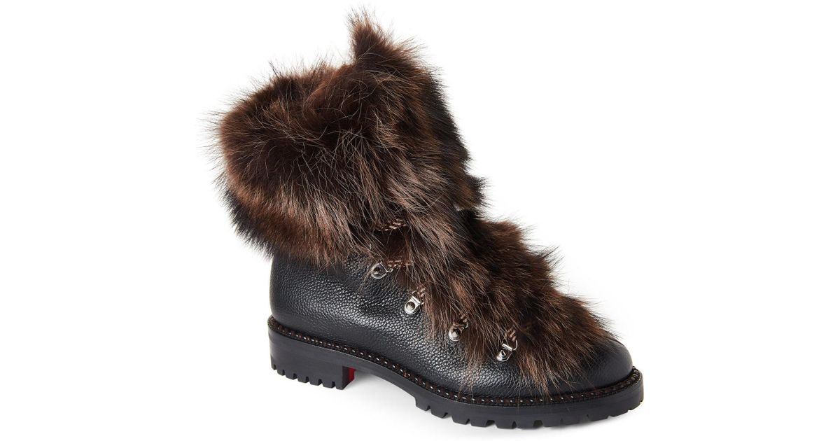 7a931f125ea Lyst - Christian Louboutin Black Fanny Real Fur Combat Boots in Black