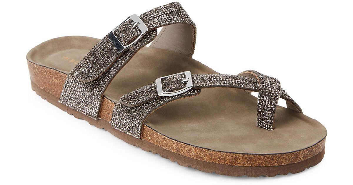 71123653968 Madden Girl Multicolor Pewter Brycee Embellished Footbed Sandals