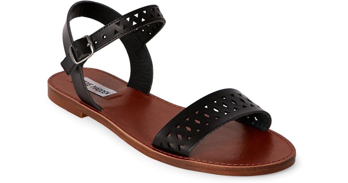 Black Cut Laser Flat Sandals Steve Dominik Madden NwOm8y0nv