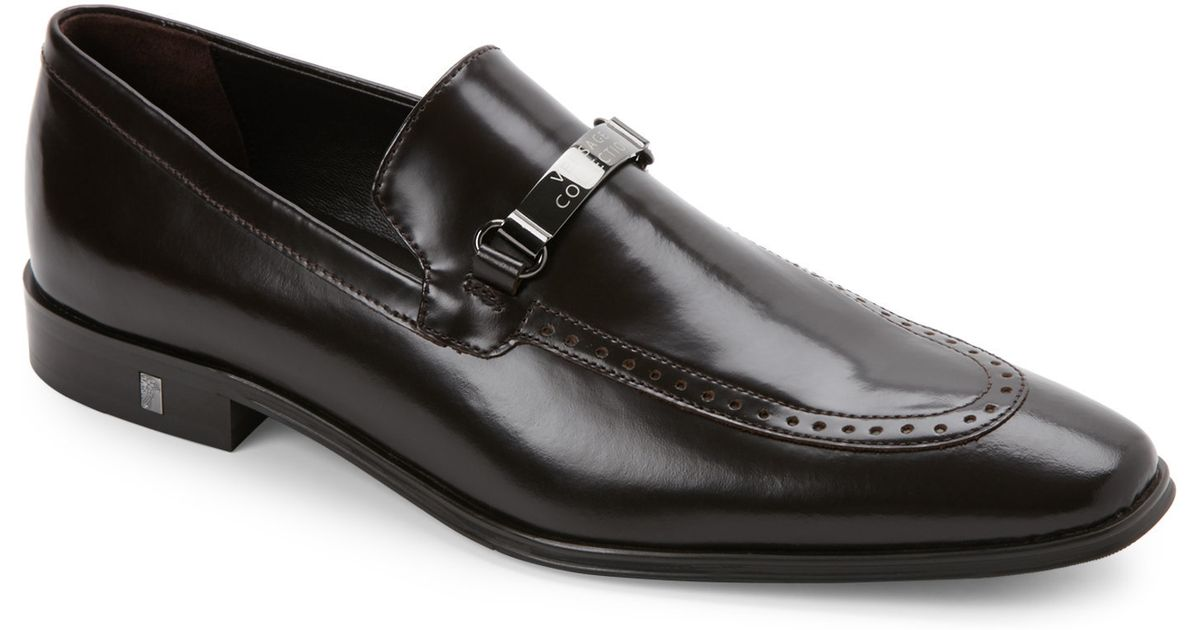 2647bbd8763 Lyst - Versace Brown Spazzolato Leather Brogue Loafers in Brown for Men