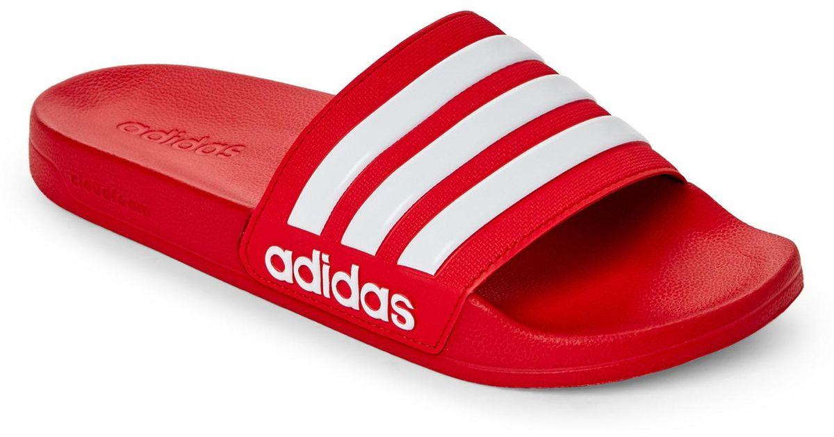 watch 0cae5 83930 adidas Scarlet   White Adilette Cf Slide Sandals in Red - Lyst