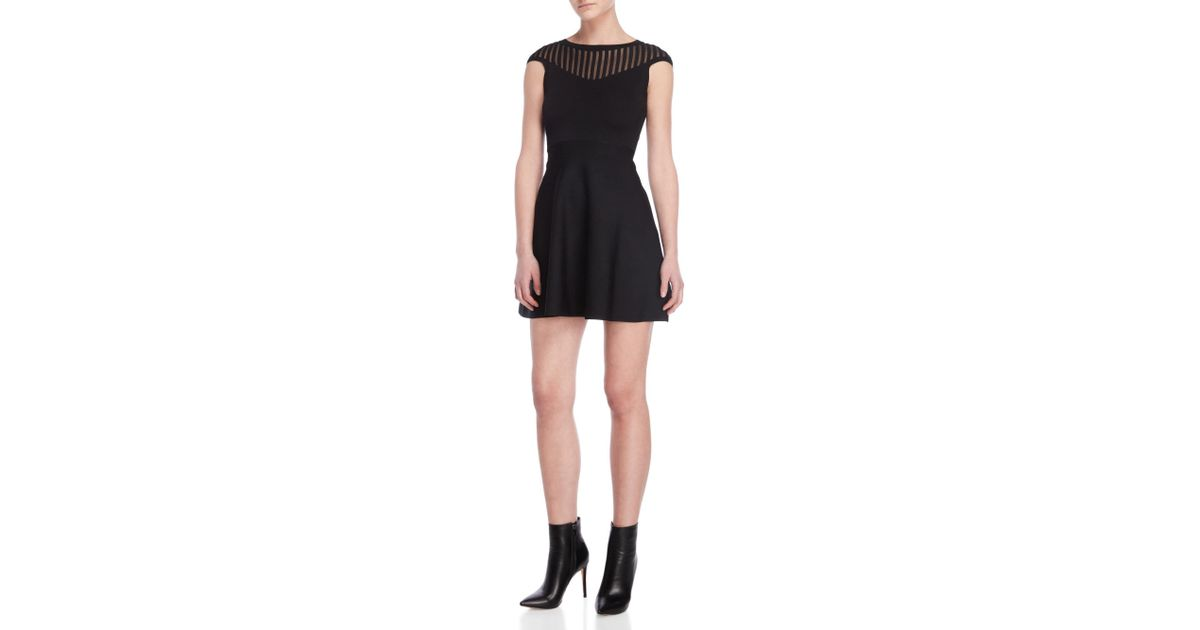 Lyst French Connection Black Cap Sleeve Fit Flare Dress In Black