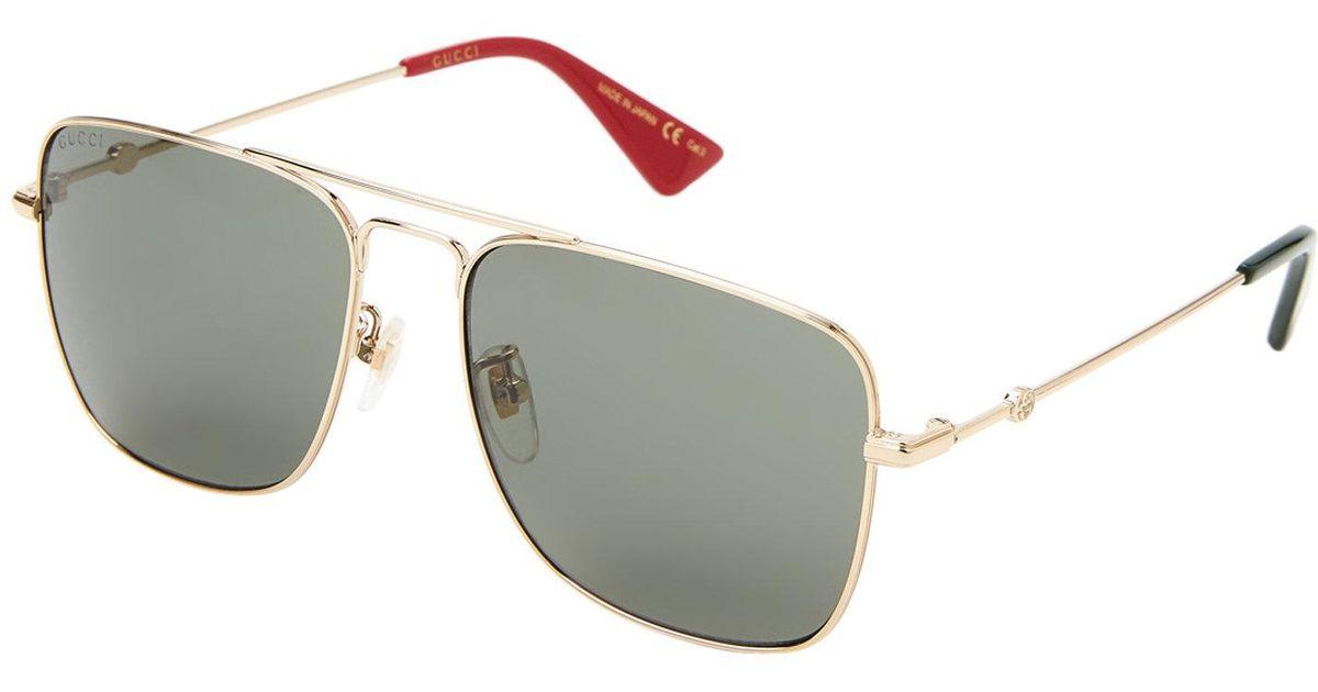 163b27dabfa31 Lyst - Gucci Gg0108 s Gold-tone Navigator Sunglasses in Metallic for Men