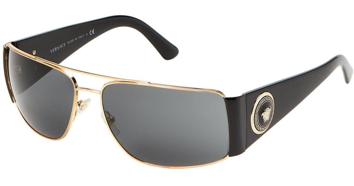 f3e9b7f620b7 Lyst - Versace Ve2163 Black   Gold-tone Wrap Around Navigator Sunglasses in  Metallic