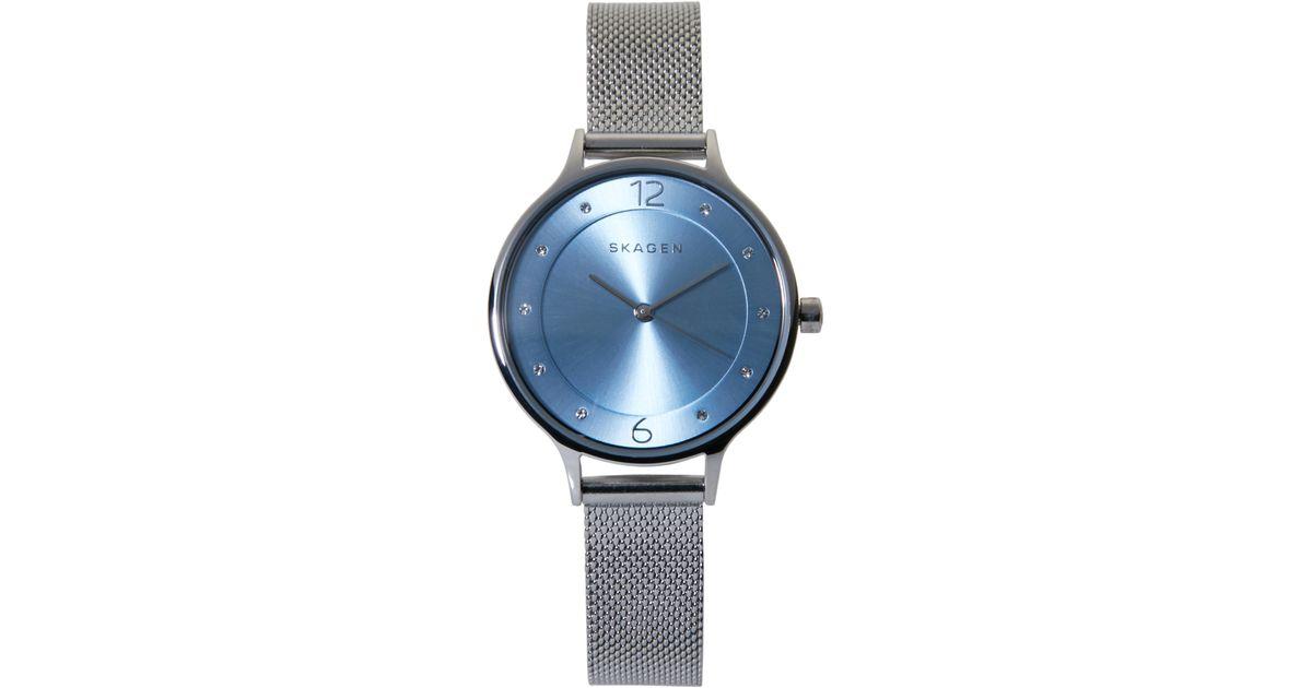 Lyst - Skagen Skw2319 Silver-Tone   Blue Watch in Metallic 25b6f871bc3