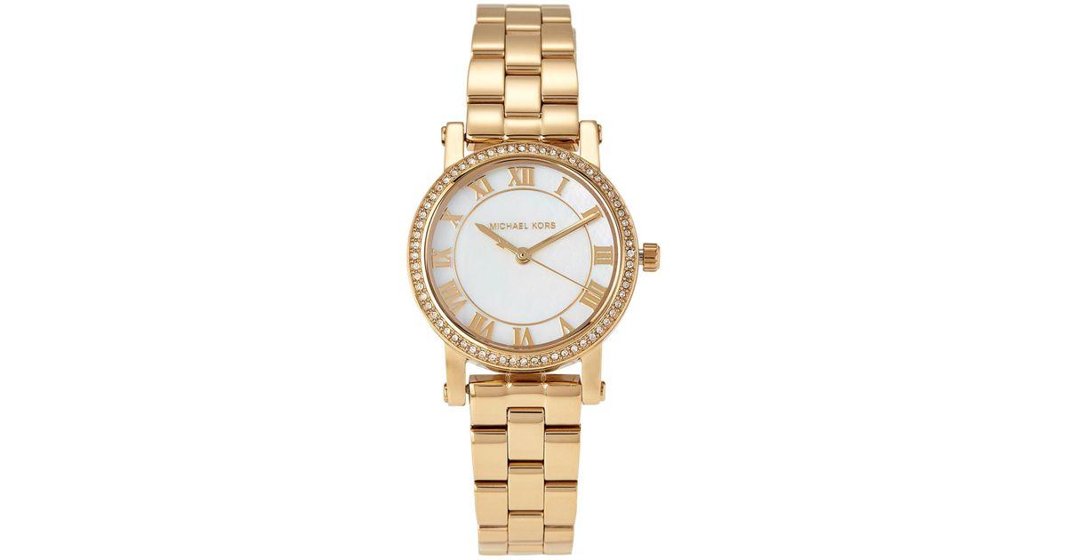 c944ee6f68ca Lyst - Michael Kors Mk3682 Gold-tone Petite Norie Pave Watch in Metallic