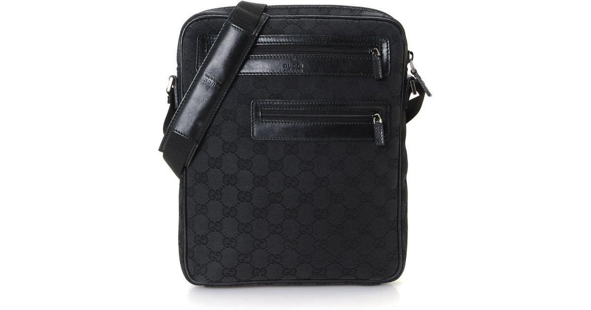 8e0d97b0b5 Gucci Black Gg Canvas Messenger Bag - Vintage for men