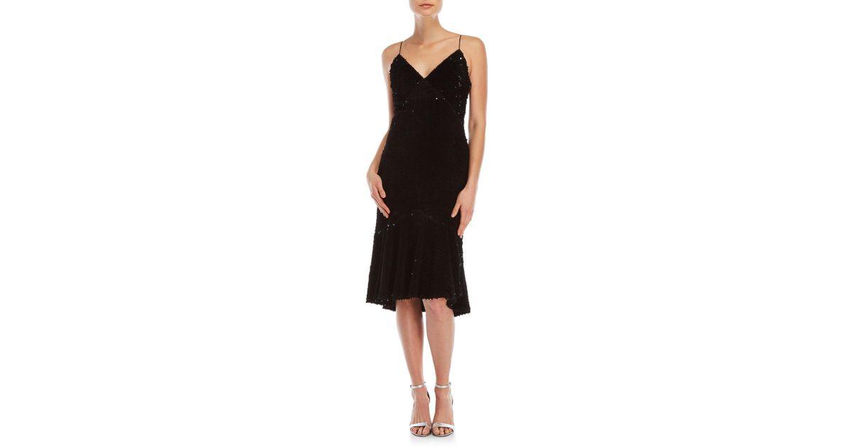 c6c92d611d48 Vera Wang Velvet Sequin Paillette Slip Dress in Black - Lyst