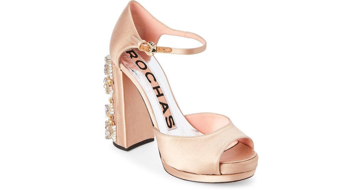 c772bfdbc48 Lyst - Rochas Light Beige Embellished Block Heel Platform Sandals in Natural