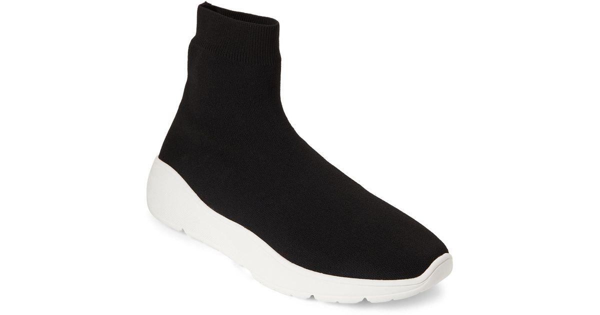aec2fd70cab Lyst - Steve Madden Black Flex Knit Sock Sneakers in Black