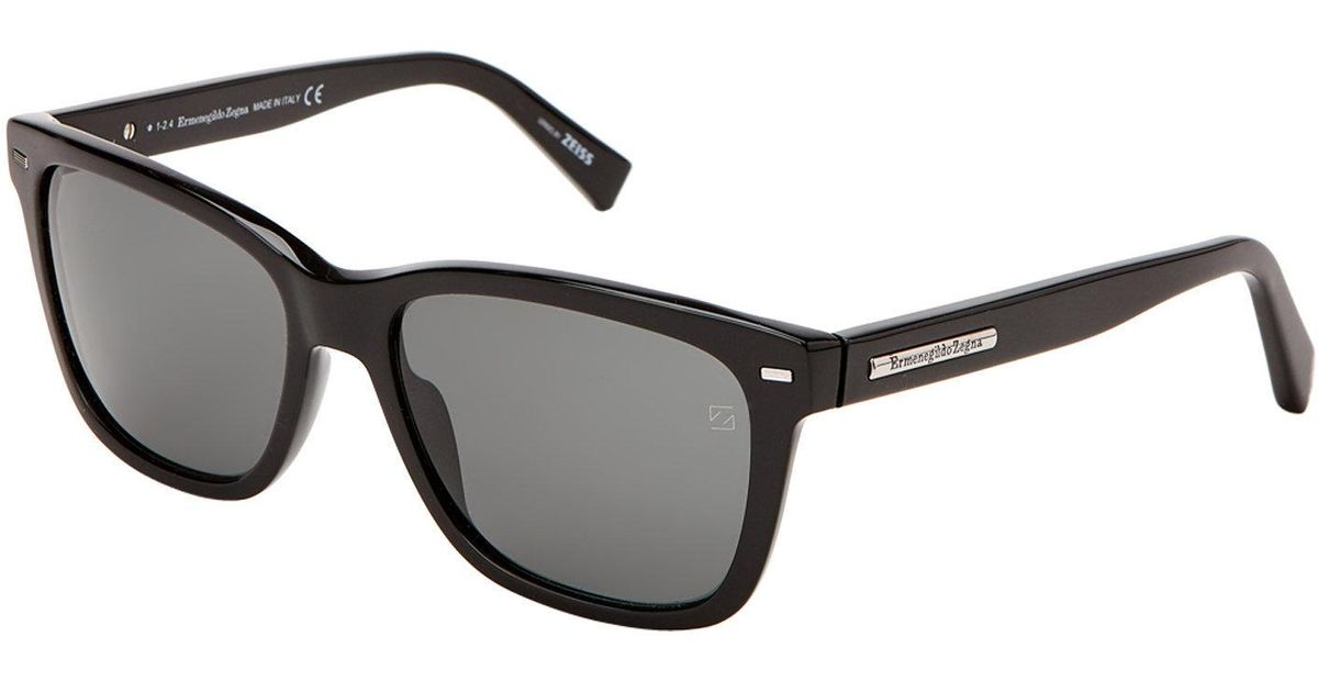 11a62bd5ed Lyst - Ermenegildo Zegna Ez0002 Shiny Black Square Sunglasses in Black for  Men
