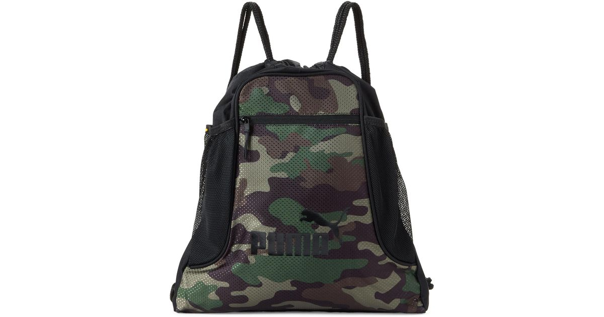 6d30eea695e PUMA Camouflage Equinox Drawstring Sport Carrysack in Black for Men - Lyst