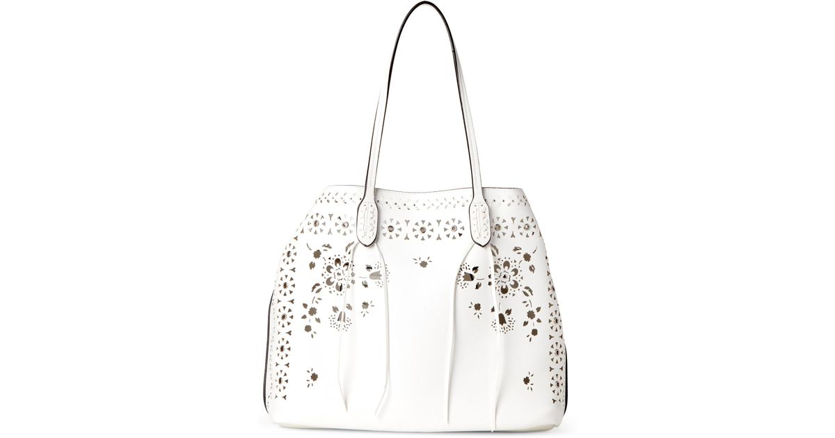 bc52e101d89508 Lyst - Moda Luxe White Chanel Perforated Bag-in-bag Tote in White