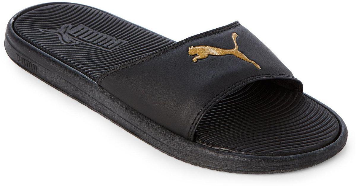 5624ef97365 Lyst - PUMA Black   Gold Sport Slides in Black for Men