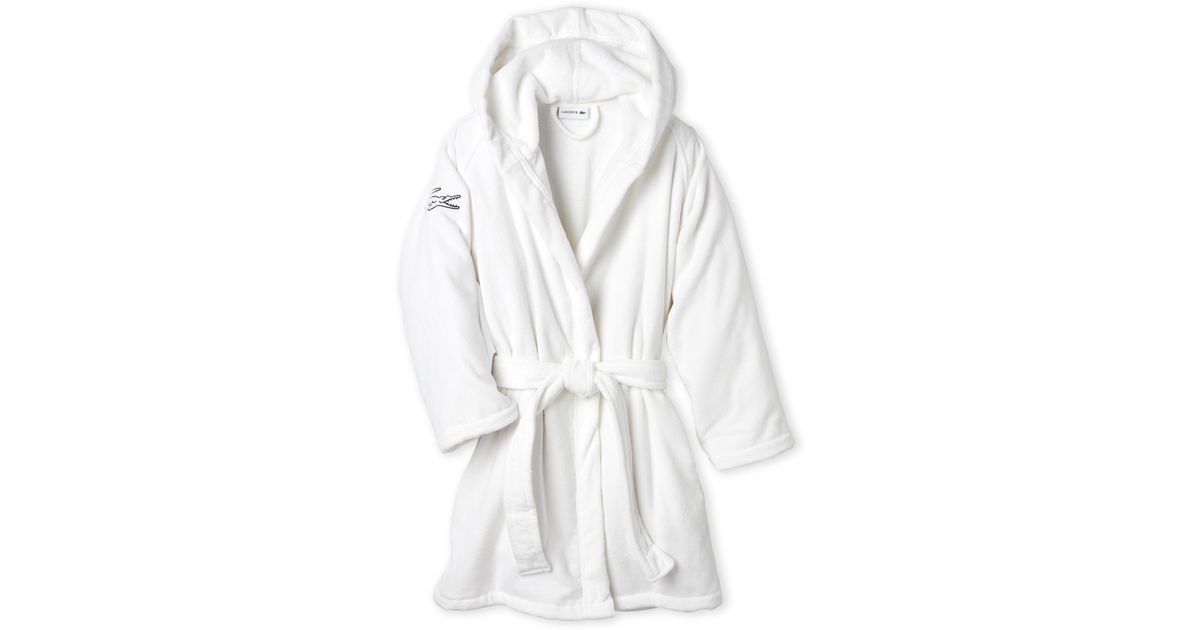 Lyst - Lacoste Hooded Fairplay Robe in White 1f9084280