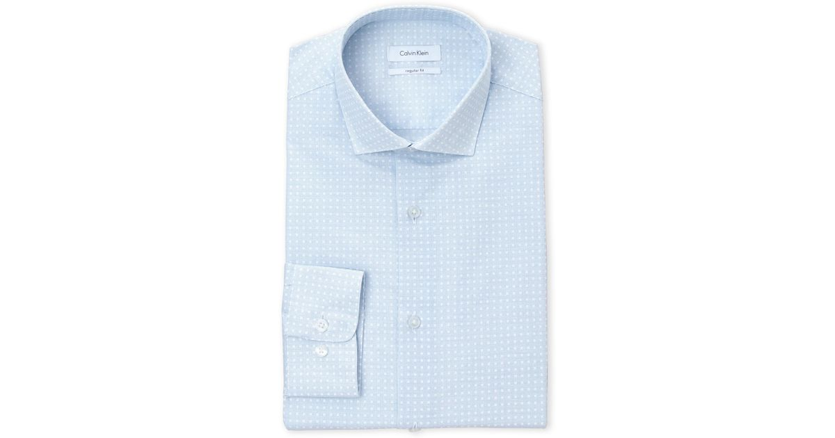 Lyst calvin klein dot print regular fit dress shirt in for Century 21 dress shirts