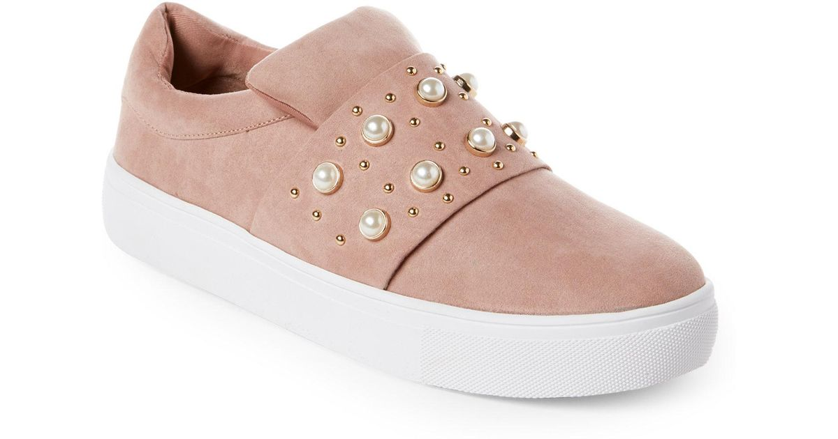 d78935fd3b3 Lyst - Steven by Steve Madden Blush Ditmars Embellished Slip On Sneakers in  Pink