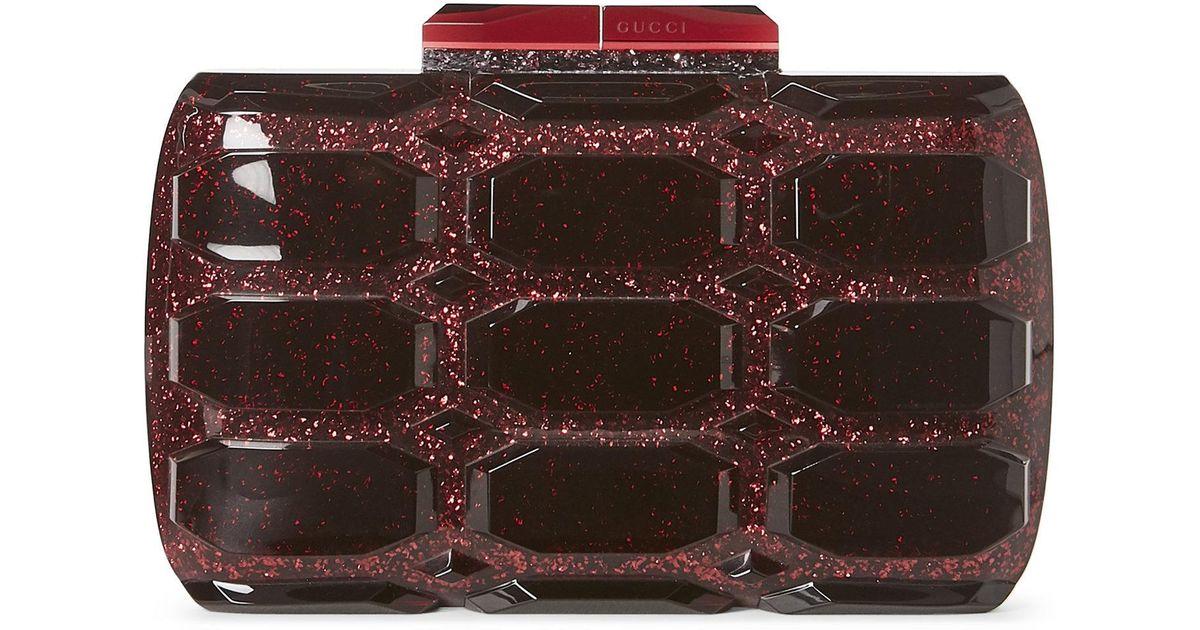 acb66c20b99 Lyst - Gucci Aristographic Glitter Plexiglass Clutch in Red
