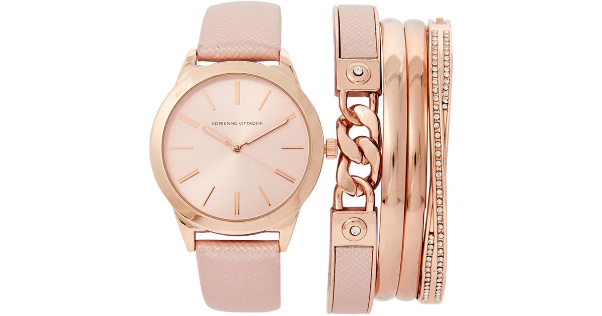 Lyst Adrienne Vittadini Adst1751 Rose Gold Tone Watch Bracelet Set In Pink