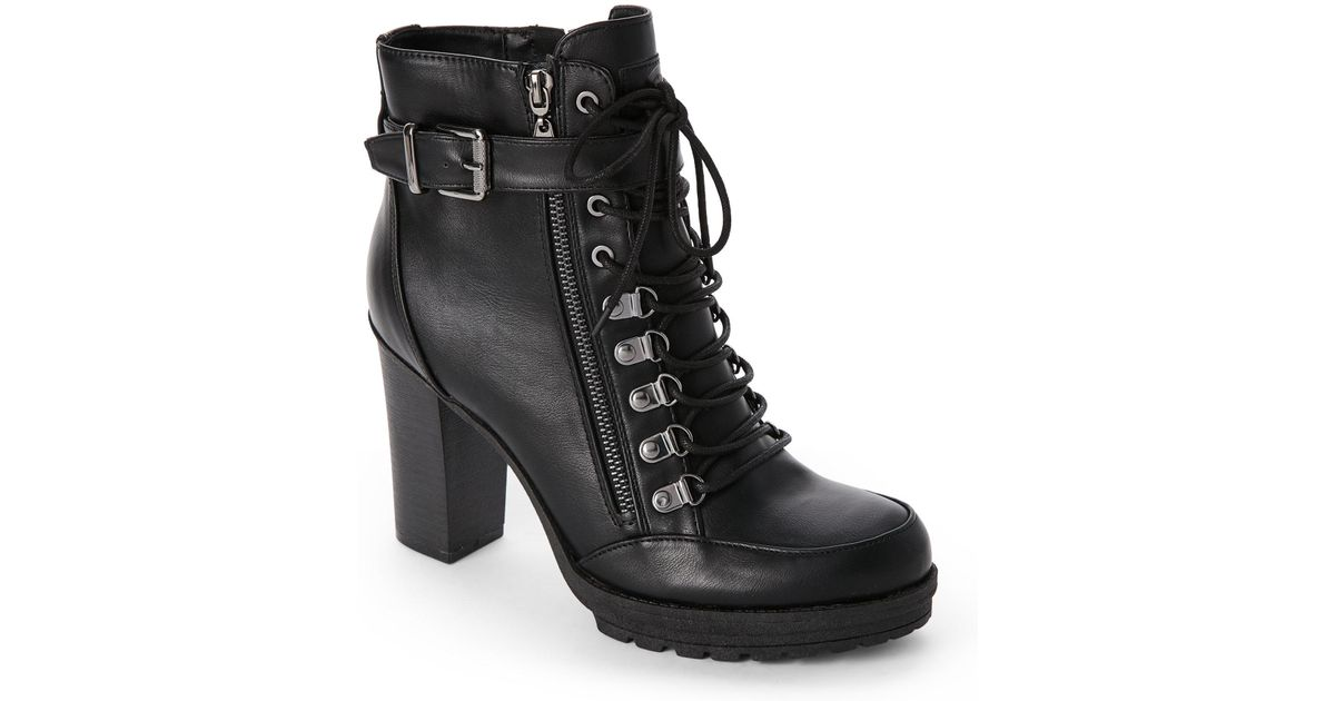 85ef1268f90 G by Guess Black Grazzy High Heel Combat Boots