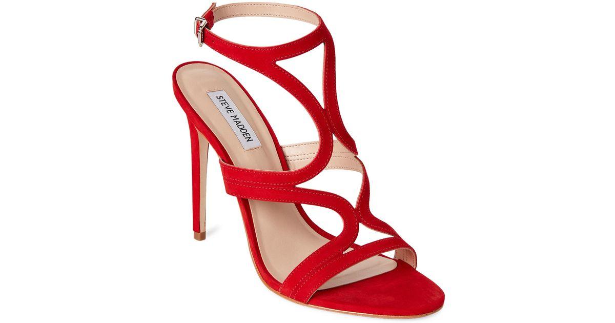 Lyst - Steve Madden Red Sidney High Heel Dress Sandals in Red